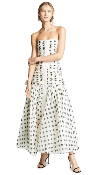 ZIMMERMANN Corsage Ruche Ivory / Black Dress