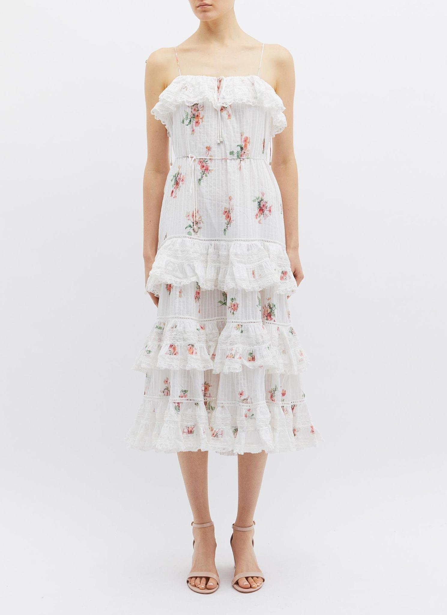 ZIMMERMANN 'Heathers' Floating Bouquet Print Tiered Ruffle Camisole White / Floral Printed Dress