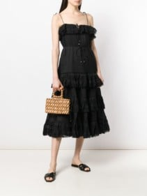 ZIMMERMANN Juniper Pintuck Tie Black Dress