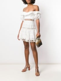 ZIMMERMANN Off Shoulder Embroidered Ivory Dress