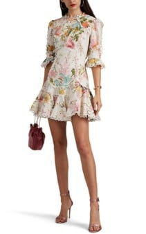 ZIMMERMANN Primrose Slub Linen-Cotton Mini Cream / Floral Printed Dress