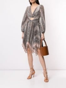 ZIMMERMANN Snakeskin Print Flared Grey / Pink Dress