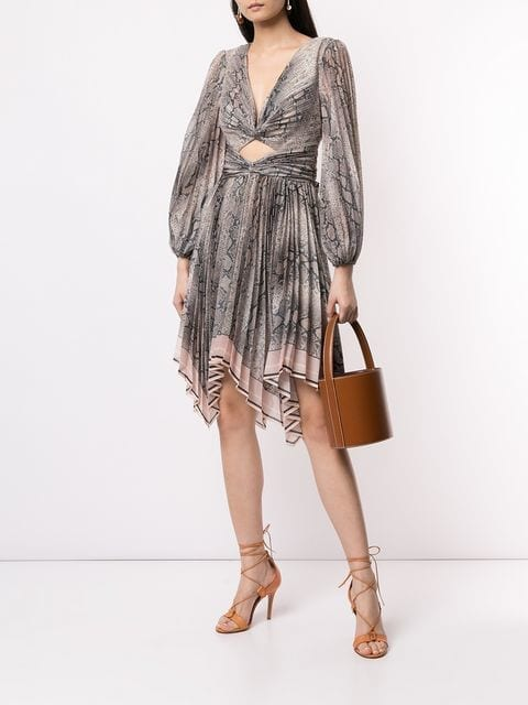 f85bbb137b416f ZIMMERMANN Snakeskin Print Flared Grey   Pink Dress - We Select Dresses