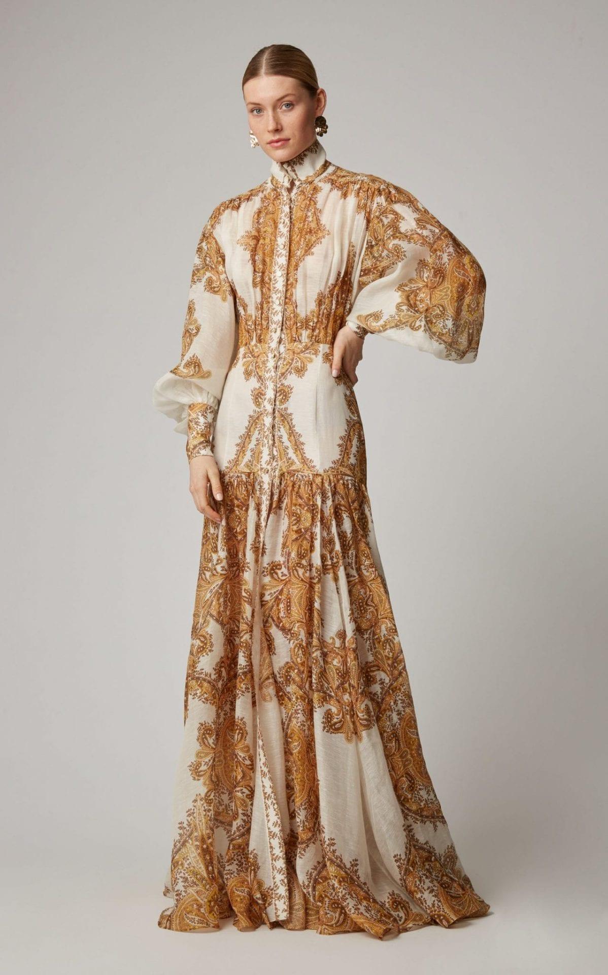 ZIMMERMANN Zippy Billow Silk Maxi Printed Dress
