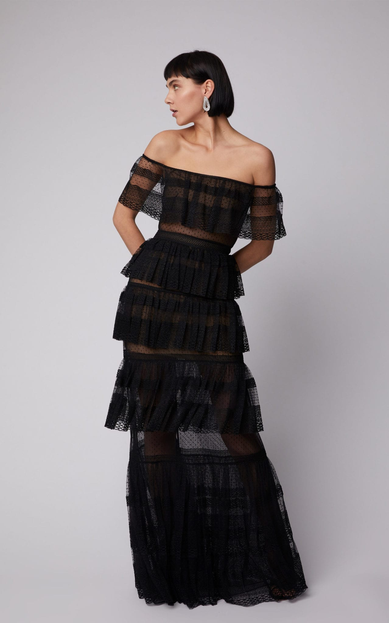 ZUHAIR MURAD Tiered Off-The-Shoulder Silk-Blend Lace Maxi Black Dress