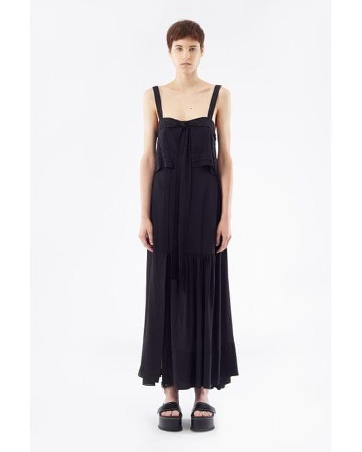 3.1 PHILLIP LIM Tie-Front Silk Black Gown