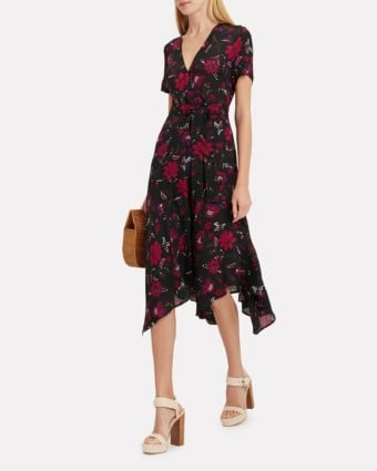 A.L.C. Cora Midi Black / Floral Printed Dress
