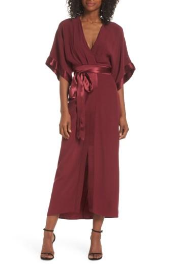 ADELYN RAE Melinda Kimono Midi Cabernet Dress