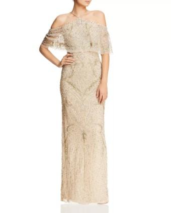 AIDAN MATTOX Cold-Shoulder Beaded Gold Gown