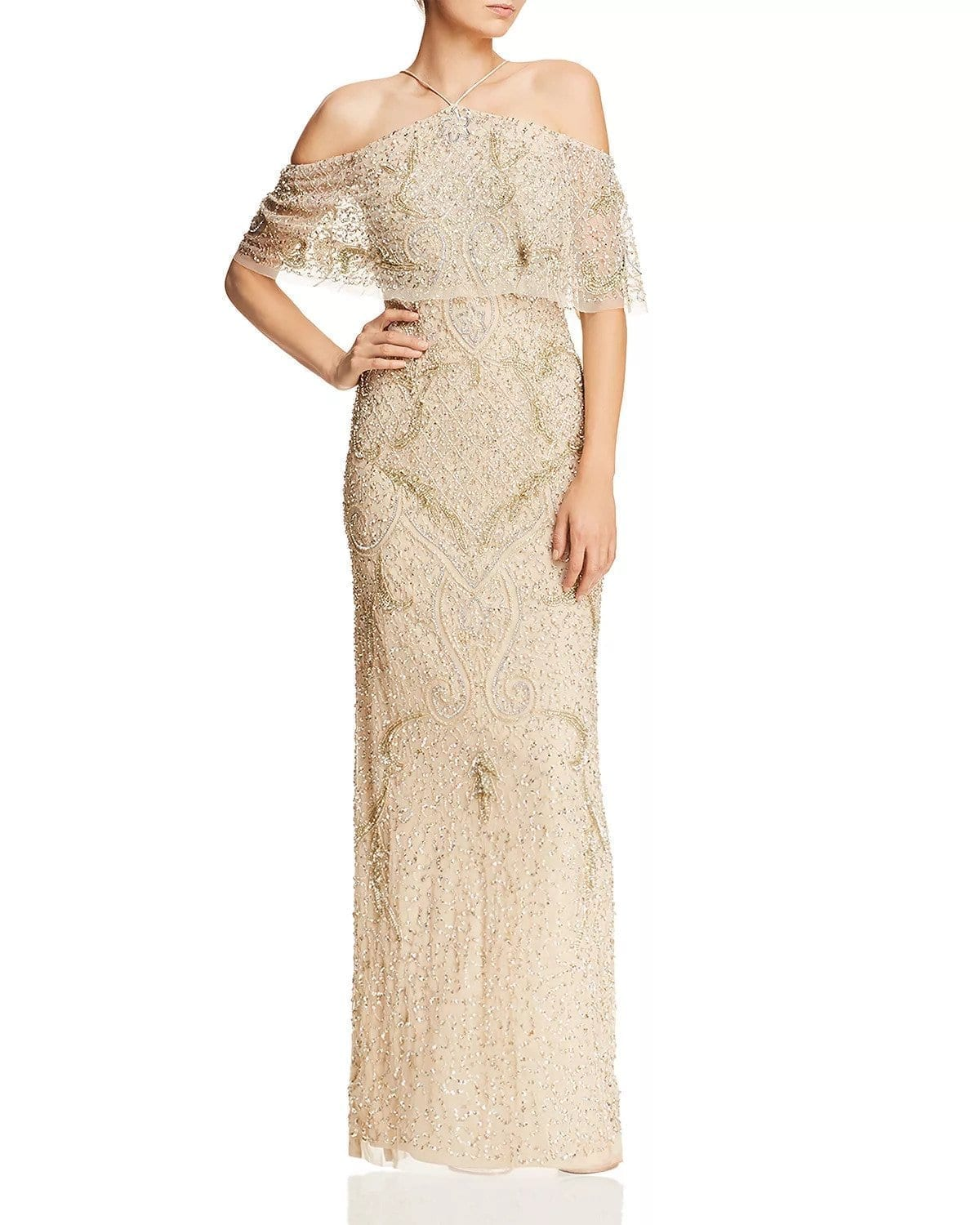 AIDAN MATTOX Cold-Shoulder Beaded Gold Gown