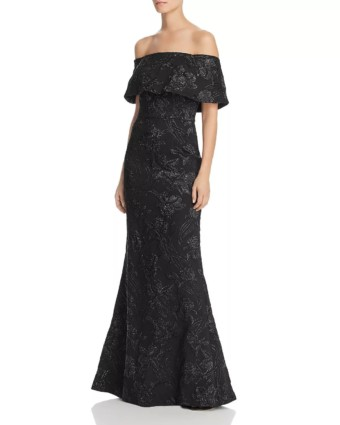 AIDAN MATTOX Off-the-Shoulder Black Gown