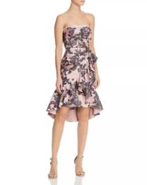 AIDAN MATTOX Strapless Pink / Floral Printed Dress