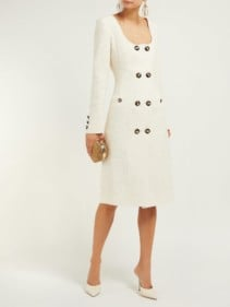 ALESSANDRA RICH Double-Breasted Cotton-Blend Tweed Midi Cream Dress
