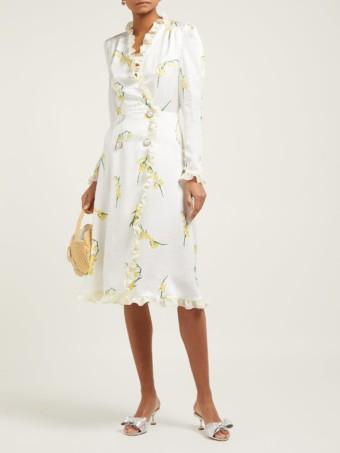 ALESSANDRA RICH Silk-devoré Midi White / Floral Print Dress