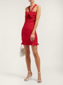 ALEXACHUNG Bow-embellished Crepe Mini Red Dress