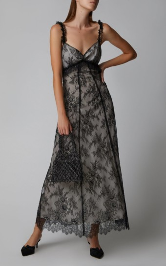 ALEXACHUNG Chantilly Lace Maxi Black Dress
