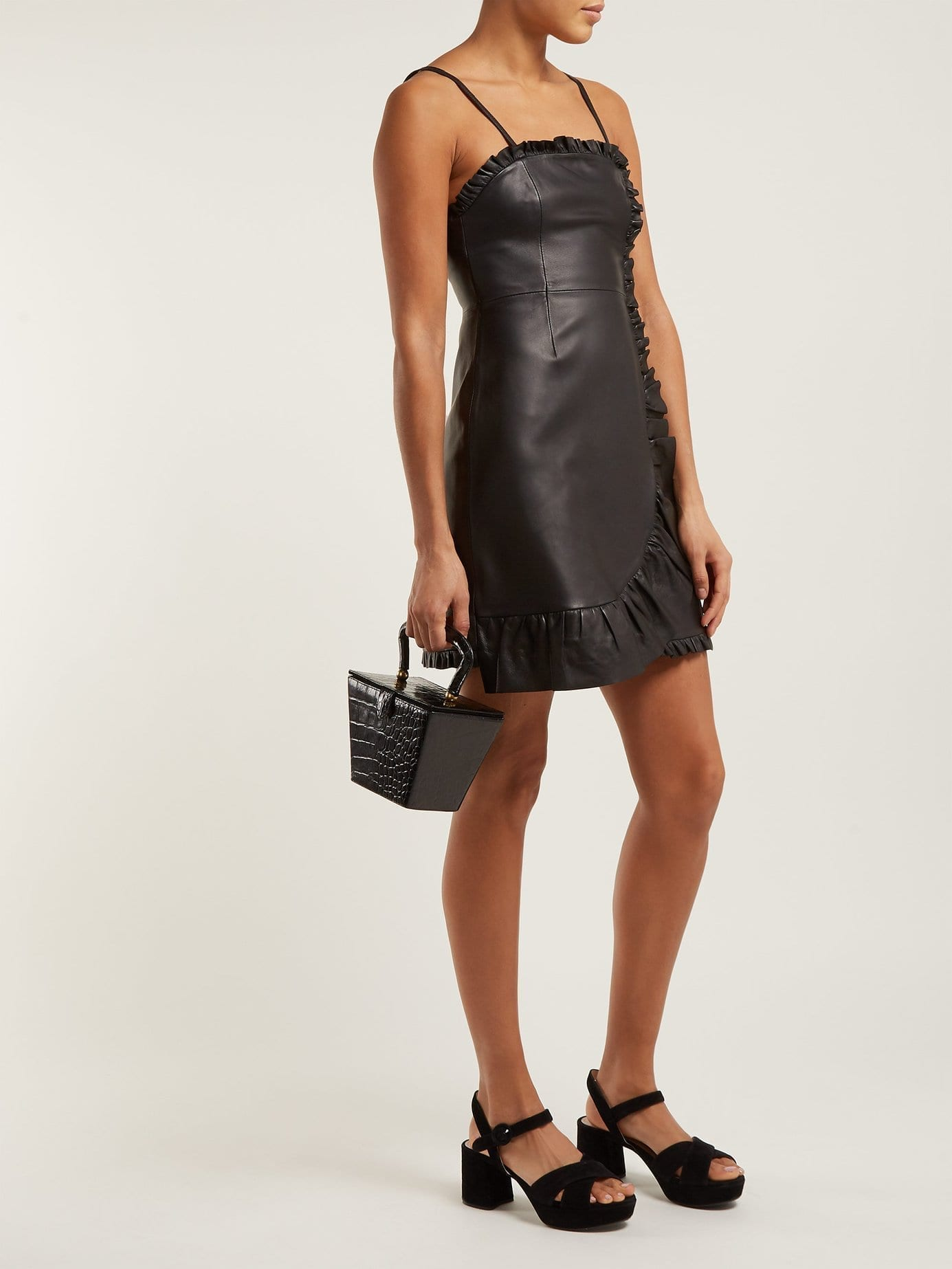 ALEXACHUNG Ruffle-trimmed Leather Mini Black Dress