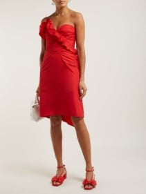 ALEXACHUNG Ruffled Taffeta Red Dress