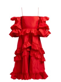 ALEXACHUNG Tiered Ruffle Off-the-shoulder Midi Red Dress