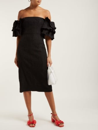 ALEXACHUNG Tiered-sleeve Cloqué Black Dress