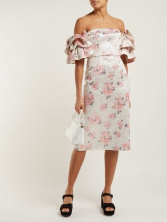 ALEXACHUNG Tiered-sleeve Floral-cloqué Pink Dress