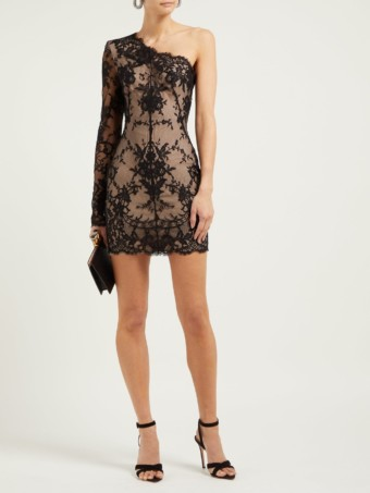 ALEXANDER MCQUEEN Asymmetric Sarabande-lace Mini Black Dress