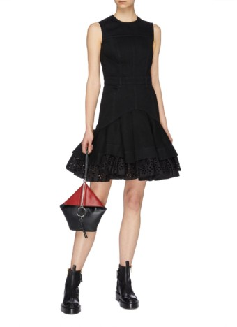 ALEXANDER MCQUEEN Detachable Broderie Anglaise Peplum Denim Black Dress