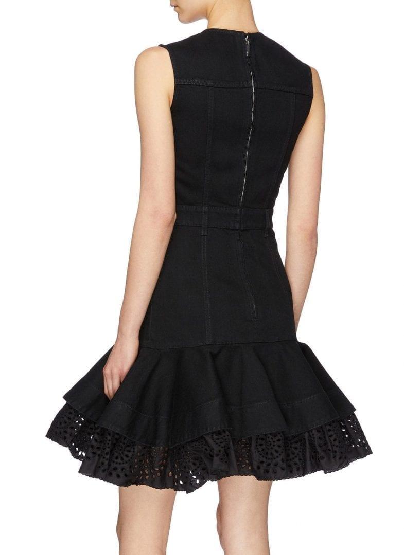 ALEXANDER MCQUEEN Detachable Broderie Anglaise Peplum Denim Black Dress