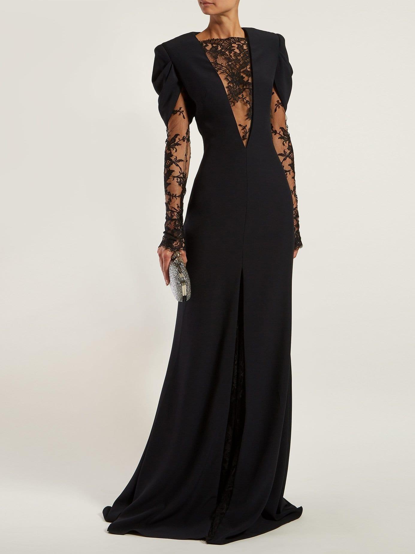 ALEXANDER MCQUEEN Lace-insert Crepe Black Gown