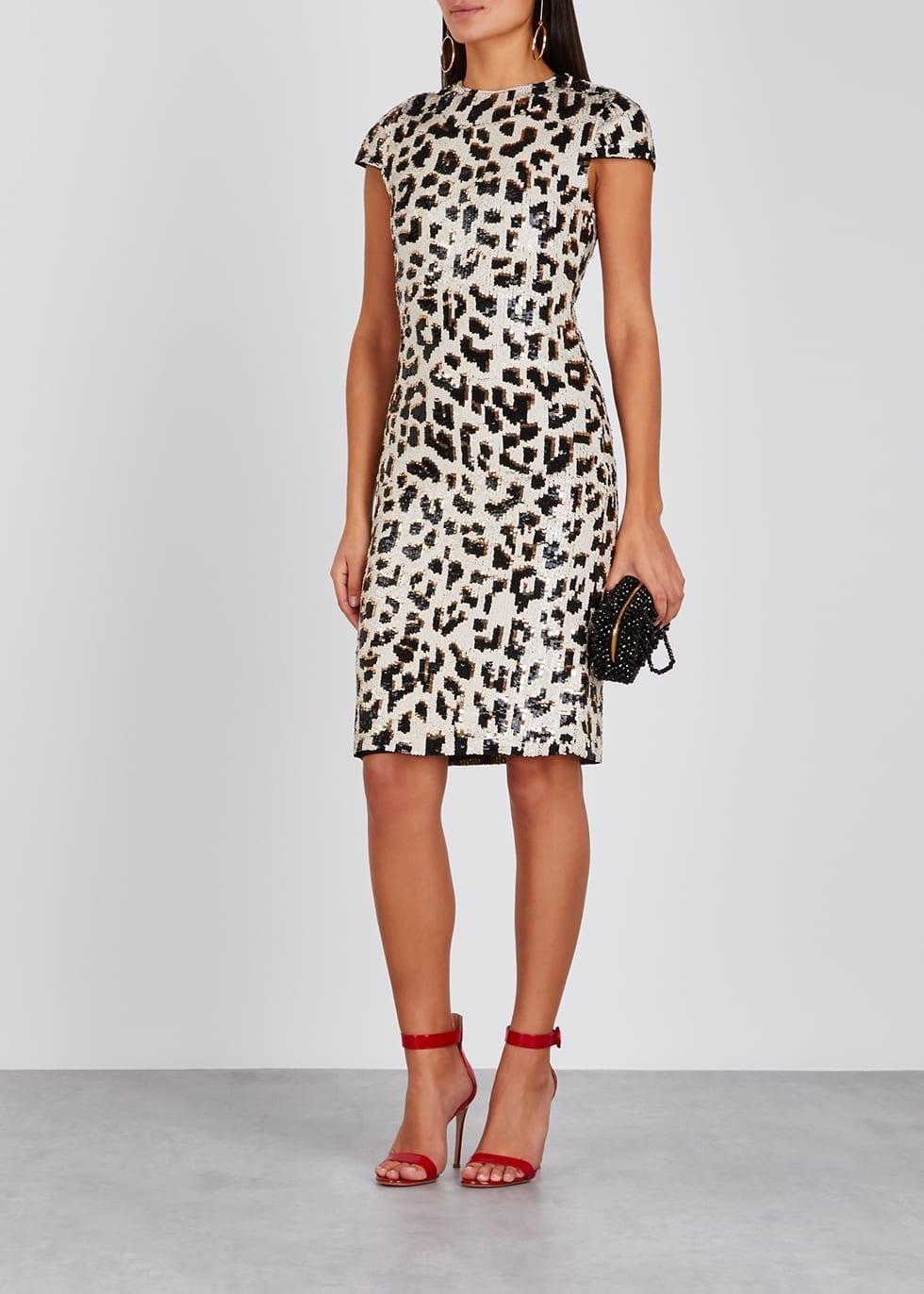 714d6b82d6fa ALICE + OLIVIA Nat leopard sequin Beige dress - We Select Dresses