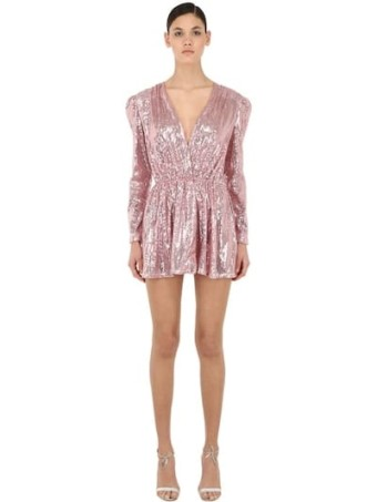 AMEN Sequined V Neck Mini Pink Dress