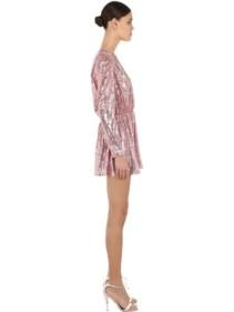 AMEN Sequined V Neck Mini Pink Dress