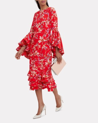 AMUR Alexia Midi Red / Floral Printed Dress
