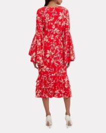 AMUR Alexia Midi Red / Floral Printed Dress