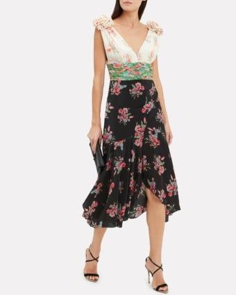 AMUR Lolly Mixed Floral Midi Black / Floral Printed Dress