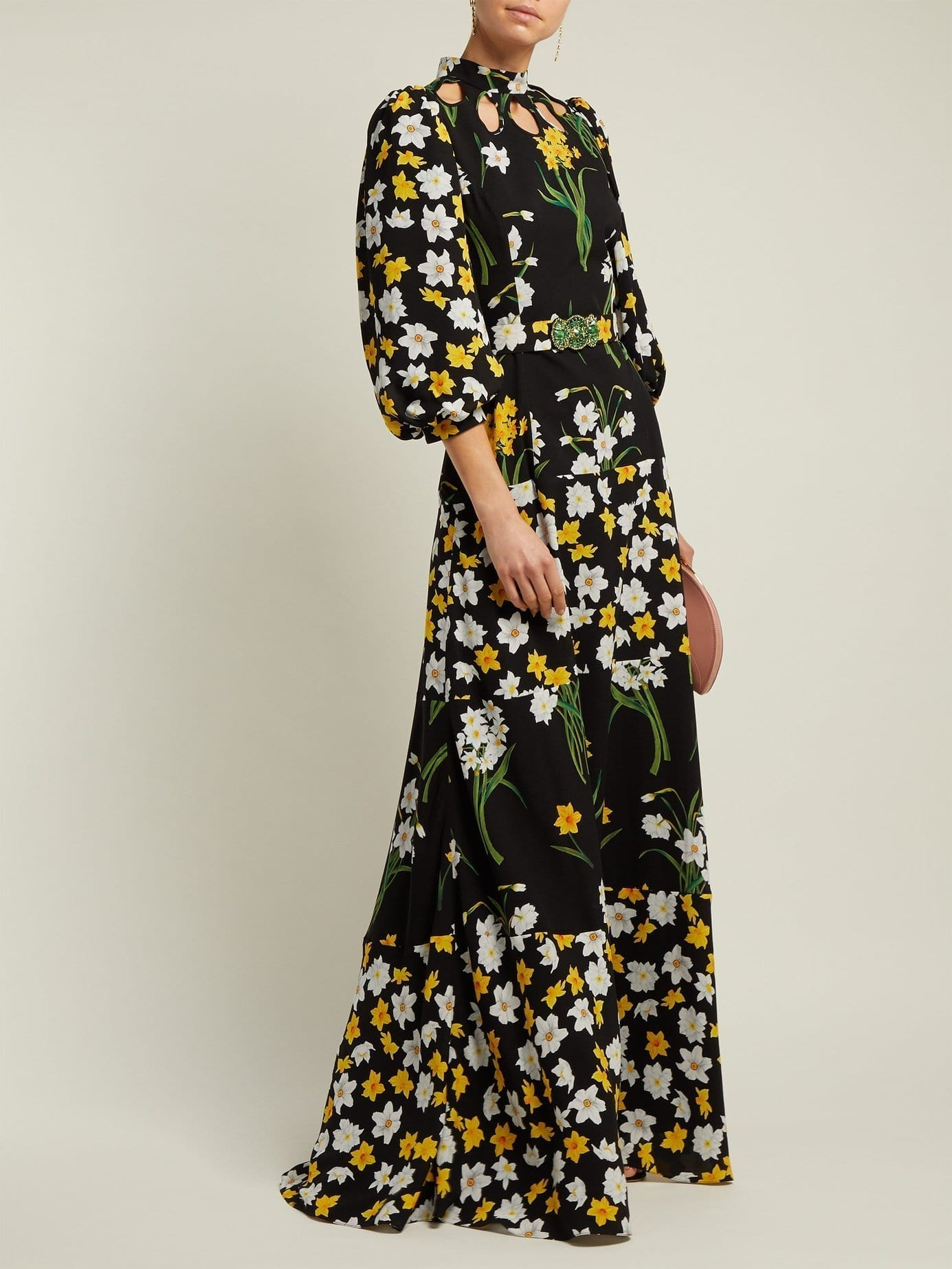 ANDREW GN Daffodil-print Silk Black Gown