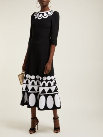 ANDREW GN Geometric Floral-appliqué Jersey Midi Black Dress