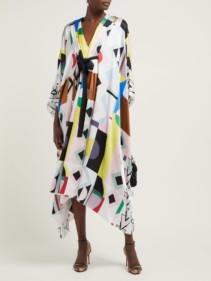 ANDREW GN Malovich Geometric-print Silk-satin Kaftan Multicolored Dress