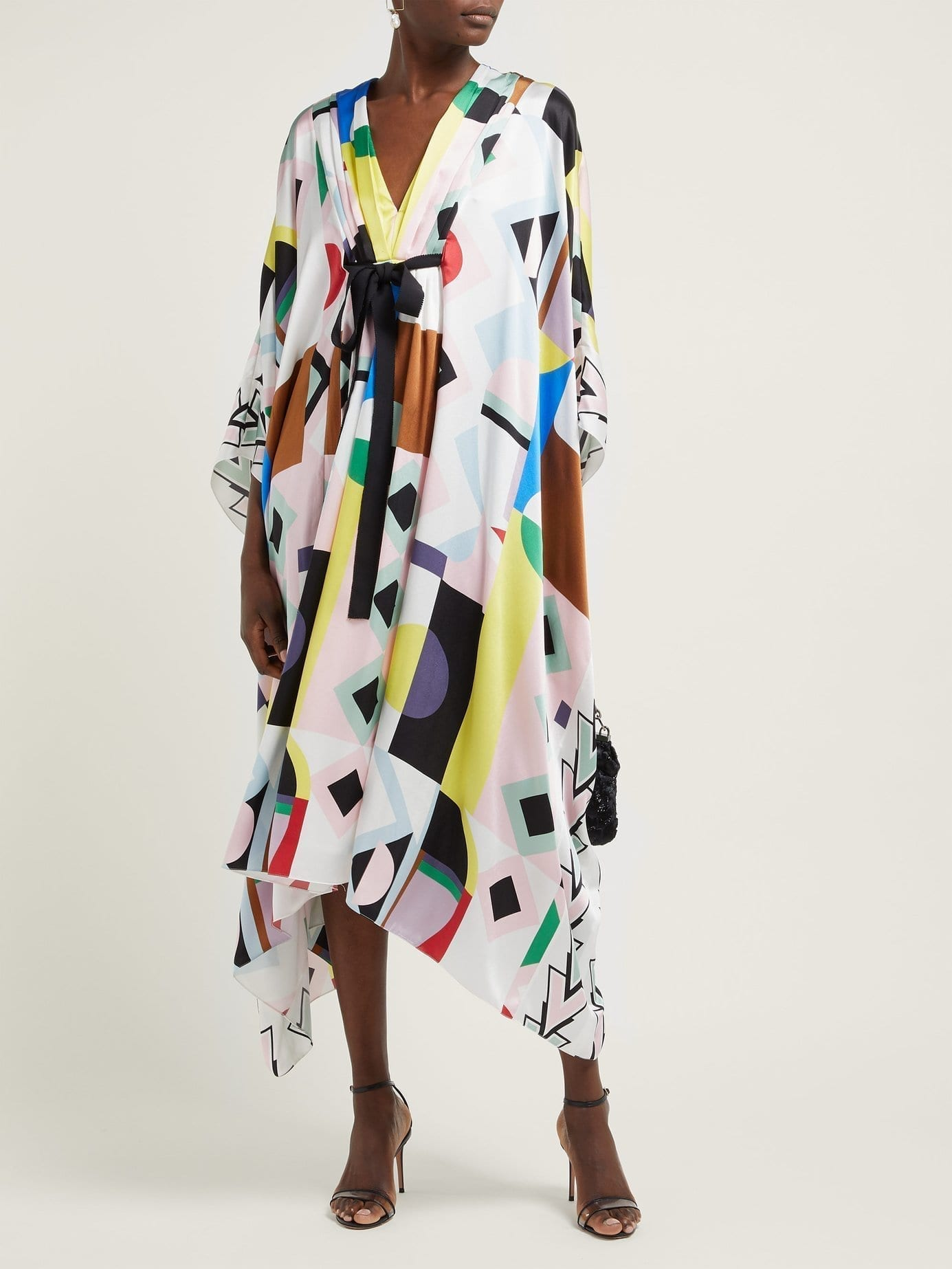 ANDREW GN Malovich Geometric-print Silk-satin Kaftan Multicolored Dress
