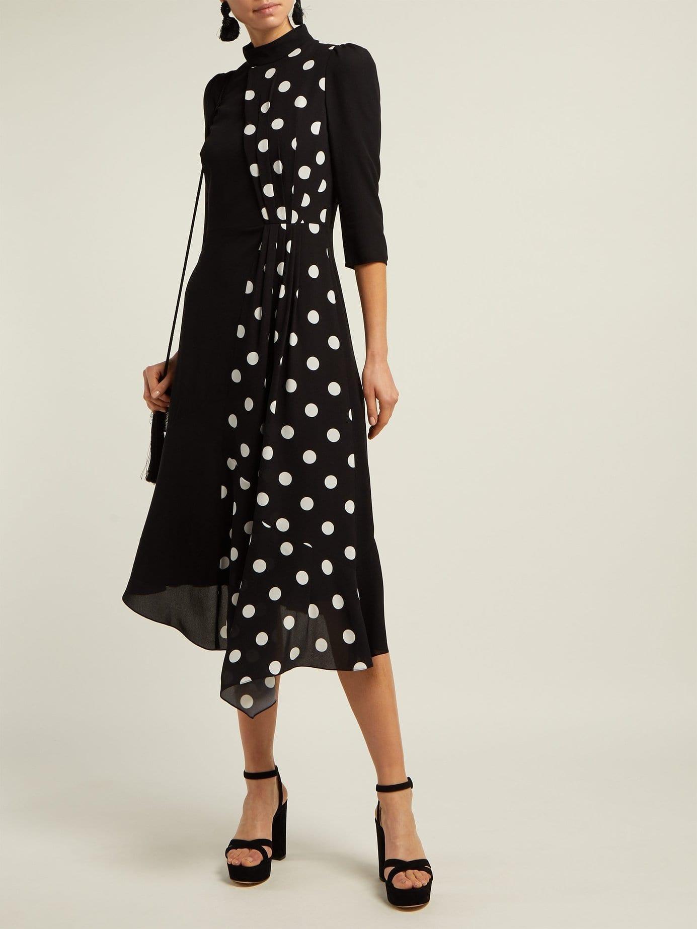 ANDREW GN Polka-dot Panel Silk Midi Black Dress