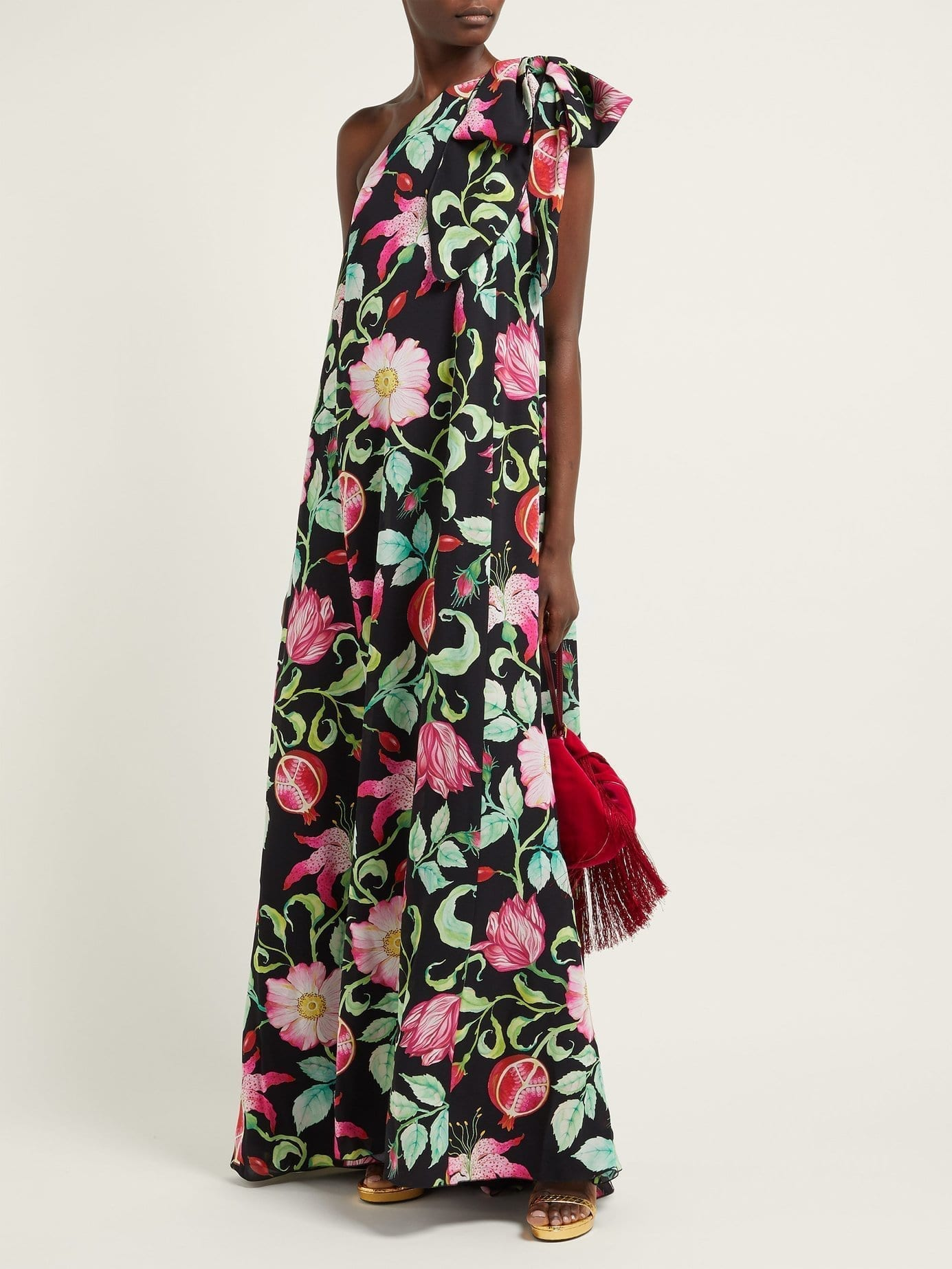 ANDREW GN Pomegrante Asymmetric Silk Black / Floral Printed Gown