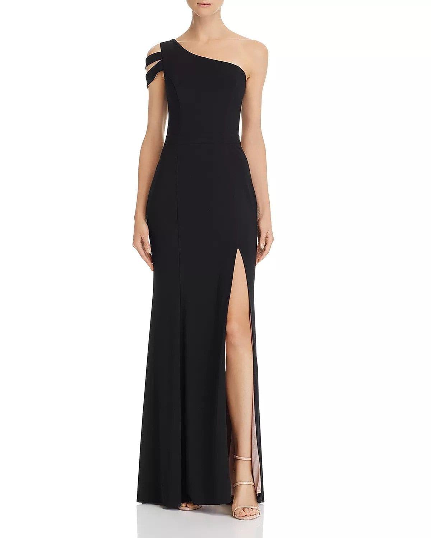 AQUA One-Shoulder Black Gown