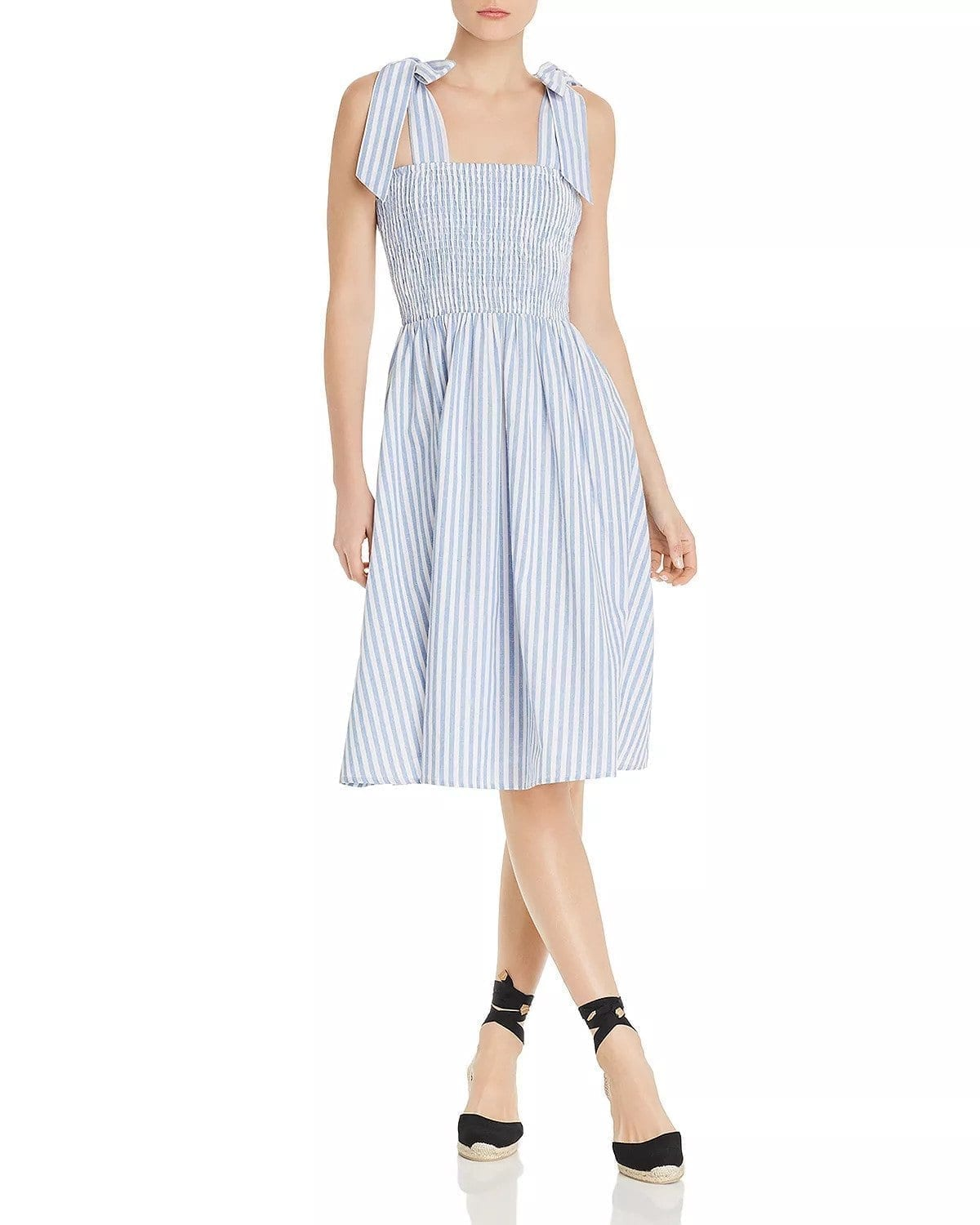 37ae0bf598e AQUA Sleeveless Striped Smocked Midi Light Blue   White Dress - We ...