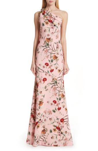 BADGLEY MISCHKA COLLECTION Badgley Mischka One-Shoulder Evening Rose / Floral Printed Dress
