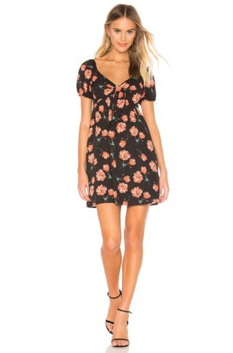 BB DAKOTA Pretty In Poppies Black / Floral Printed Dress