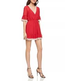 BCBGENERATION Lace-Trim Blouson Red Dress