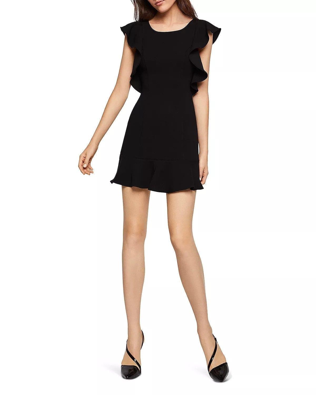 b12b91d2d11 BCBGENERATION Ruffle Deep V-Back Black Dress - We Select Dresses