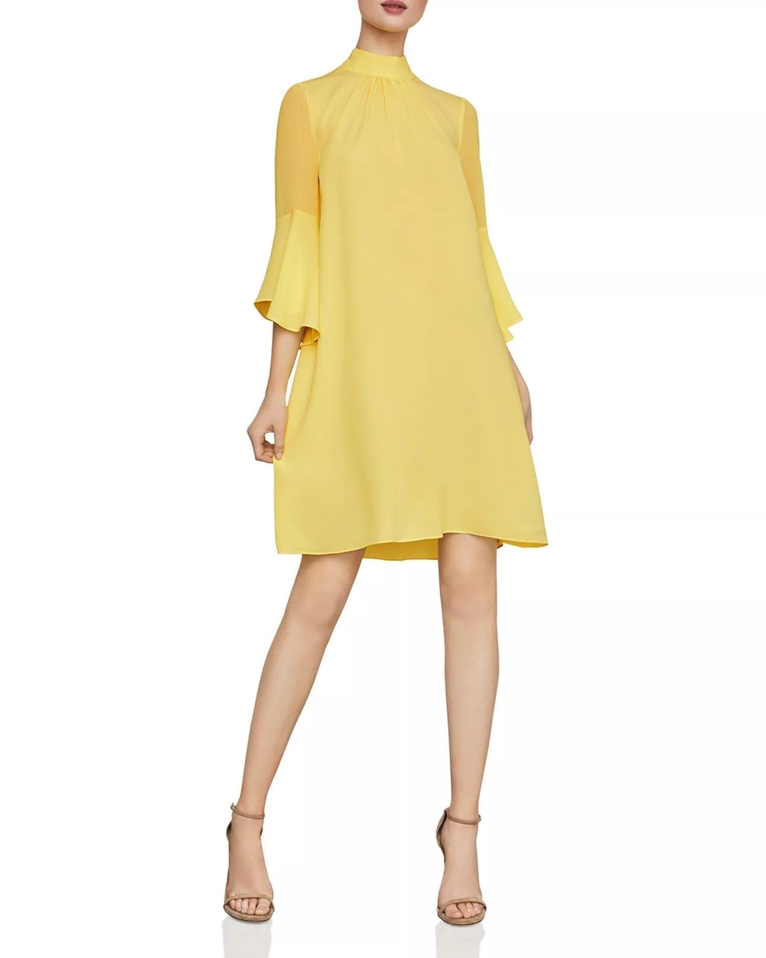 BCBGMAXAZRIA Bell-Sleeve Shift Yellow Dress