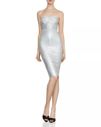 BCBGMAXAZRIA Faux-Croc Metallic Strapless Silver Dress