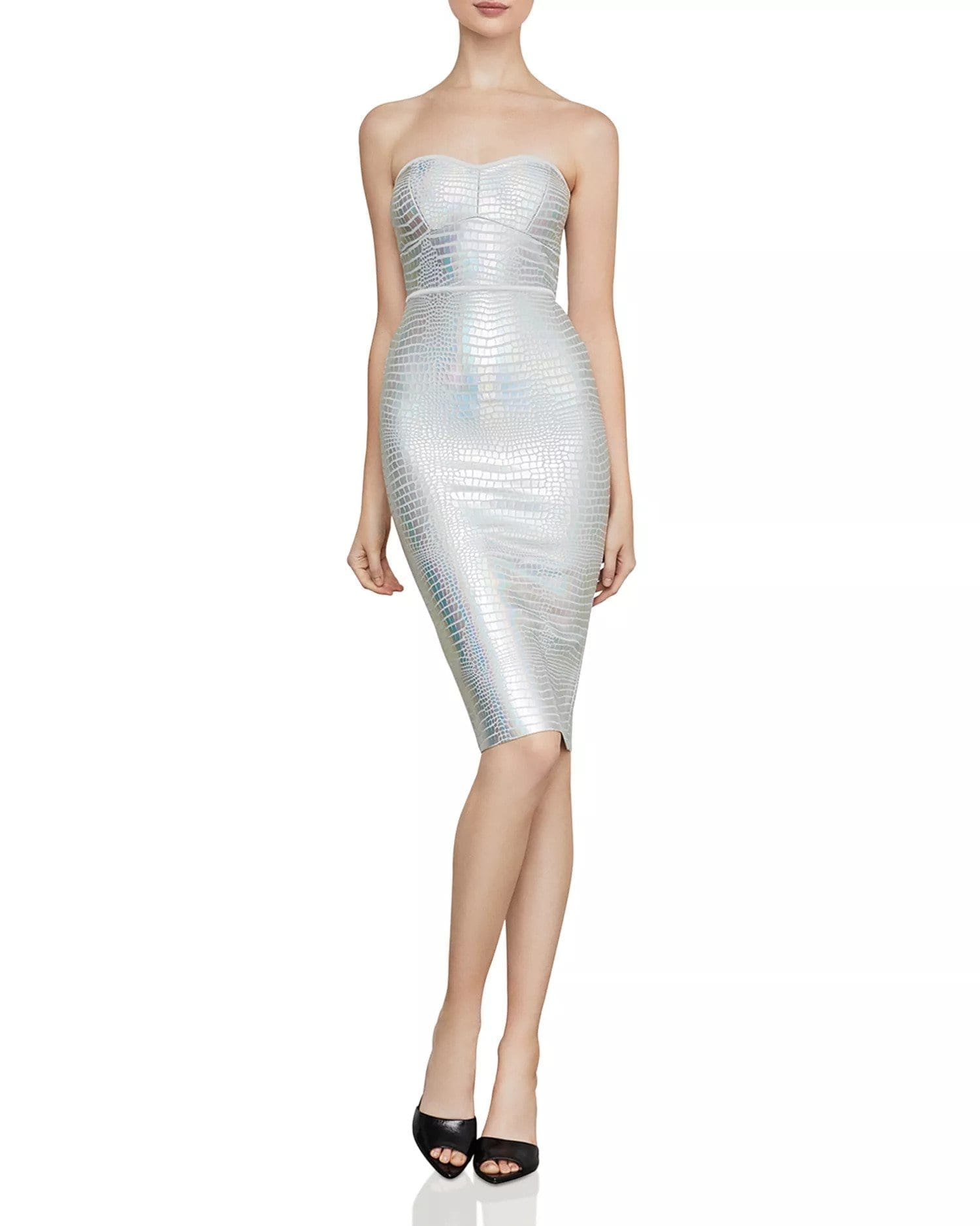 BCBGMAXAZRIA Faux-Croc Metallic Strapless Silver Dress